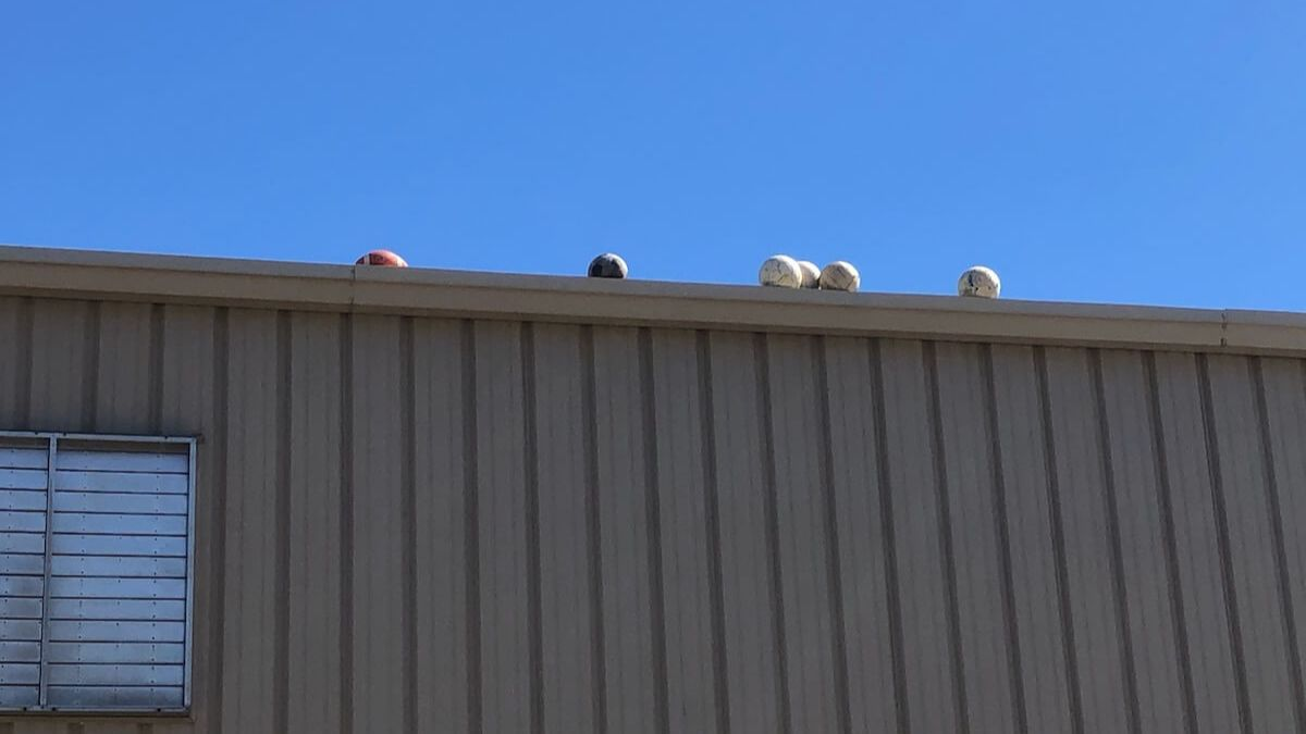 Balls on the roof
