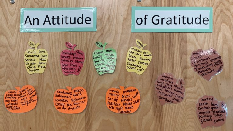 Kindergarten classroom's things to be grateful for